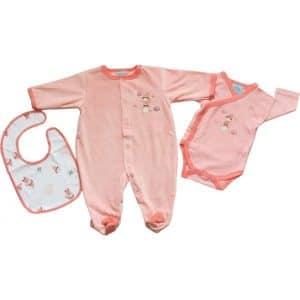 kit-naissance-3-pieces-fille-pyjama-body-et-bavoir-assorti