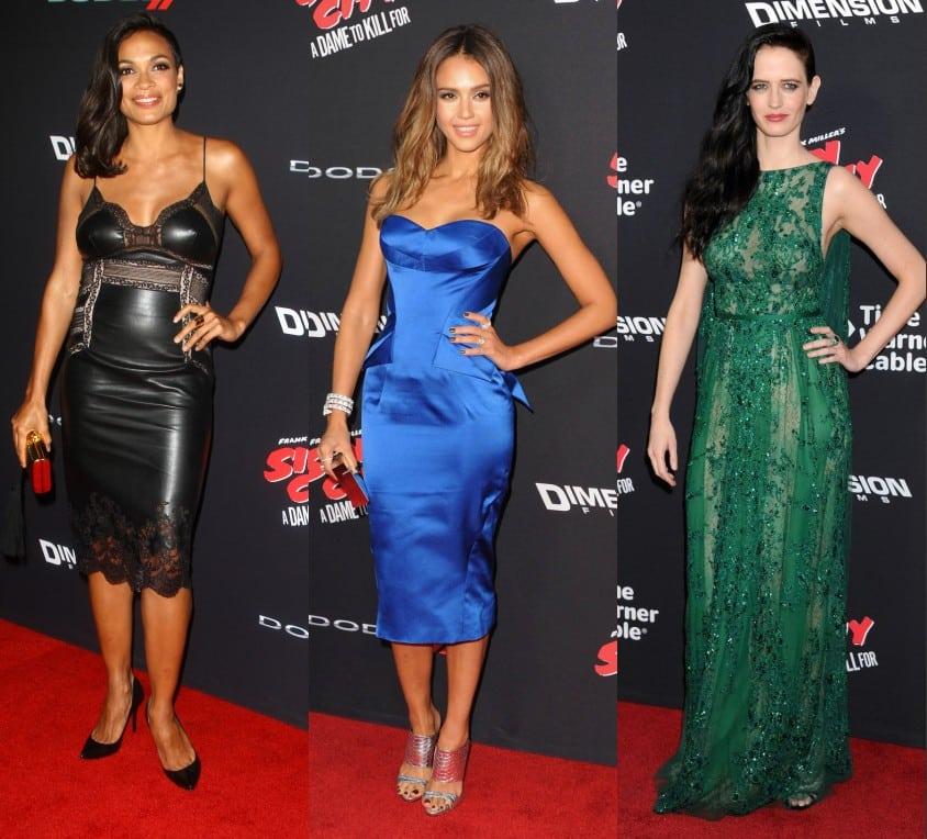 Rosario Dawson, Jessica Alba, Eva Green à l'avant première du film Sin City 2